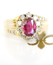 Ring mit 1,46ct Burma Rubin + 0,56ct Brillanten 585/000 Gelbgold A2166