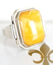 Alter Fischland Butterscotch Bernstein 835/000 Silber Ring A2955