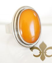 Grosser alter Fischland Butterscotch Bernstein 835/000 Silber Ring A2954