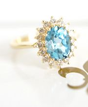 Exclusiver Ring mit Blautopas und 0,30ct Brillanten in 750/000 Gelbgold A3020